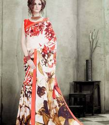 Buy Off white printed crepe saree with blouse printed-saree online