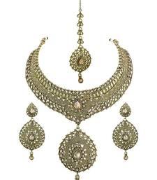 Buy Golden Beige Polki Stones Necklace Set with Maang Tika Jewellery for Women - Orniza bridal-set online