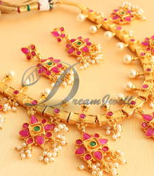 Buy ROYAL 1GRAM GOLD RUBY-EMERALD GUTTA POOSALU NECKLACE SET-DJ02877 necklace-set online