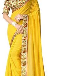 Buy Yellow hand woven georgette saree with blouse georgette-saree online