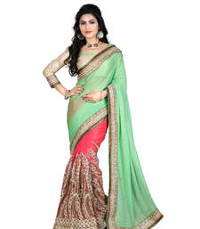 Buy Gold embroidered georgette saree with blouse wedding-saree online