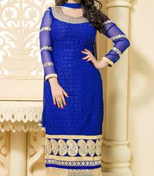 Buy blue embroidered georgette unstitched salwar with dupatta straight-suit online