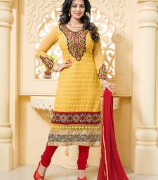 Buy yellow embroidered georgette unstitched salwar with dupatta dress-material online