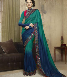 Buy Teal embroidered satin saree with blouse party-wear-saree online