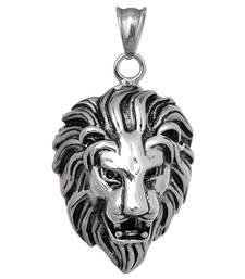 Buy Pendant for Men Boys Silver Stainless Steel Lion Face Singham Stylish men-pendant online