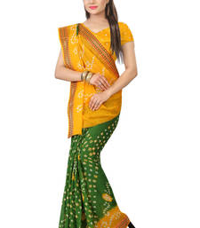 Buy Yellow hand woven cotton saree with blouse haldi-ceremony-dress online
