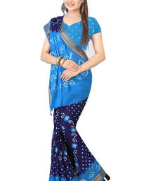 Buy Blue hand woven cotton saree with blouse cotton-saree online