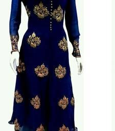 Buy Blue Georegtte  semi stitched salwar with dupatta wedding-salwar-kameez online