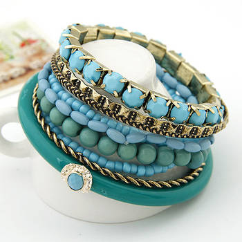 Blue Ocean Beads Multilayer Bangles Set(CFB0044)