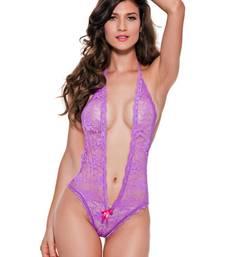 Buy Purple Polyester and Spandex sexy sleepwear nightwear online