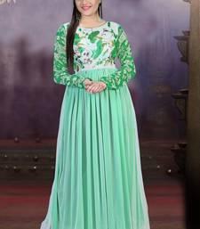 Buy Green printed net semi stitched salwar anarkali-salwar-kameez online