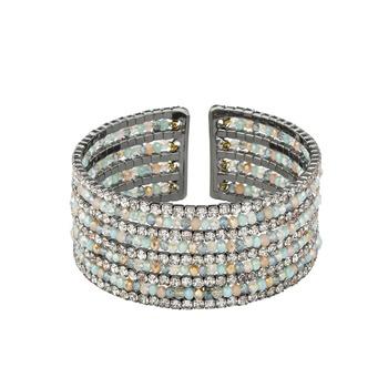 Natural Beads and Rhinestones Italian Designer Cuffs-Ziba Metallic Cuff