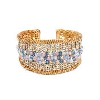 Natural Beads and Rhinestones Italian Designer Cuffs-Spruce Beaded Golden Cuff