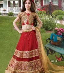 Buy red embroidered brocade kids lehenga choli eid-kids-wear online