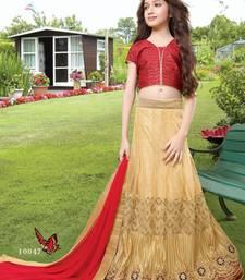 Buy cream embroidered brocade kids lehenga choli eid-kids-wear online