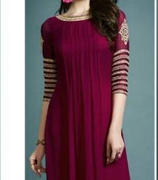 Buy Maroon Foux Georgette embroidered semi stitched kurti party-wear-kurtis online
