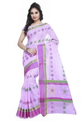 Purple Cotton Handloom Traditional Saree