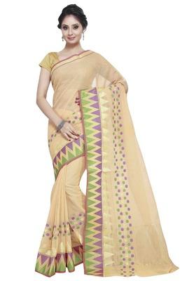 Light Orange Cotton Handloom Traditional Saree