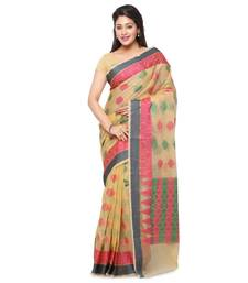 Buy Beige Cotton Handloom Traditional Saree cotton-saree online