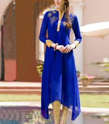 Buy Royal Blue  Georgette embroidered semi stitched kurti party-wear-kurti online