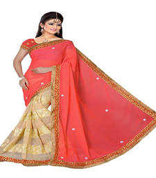 Buy Pink embroidered georgette saree with blouse designer-embroidered-saree online