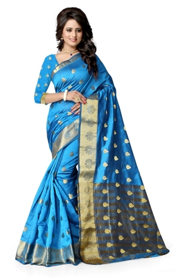 Sky blue hand woven cotton silk saree with blouse