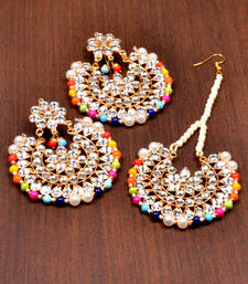 Buy Kundan Embellished Dangler Earrings Cum Maang Tika Set 217mt106 black-friday-deal-sale online