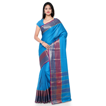 Turquoise hand woven cotton silk saree with blouse