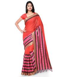 Buy Orange hand woven cotton silk saree with blouse handloom-saree online