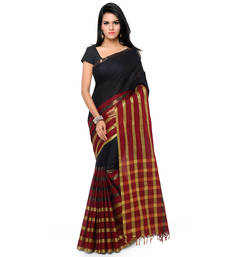 Buy Black hand woven cotton silk saree with blouse handloom-saree online