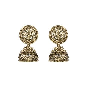 Golden Metal Oxidised Jhumka Earrings