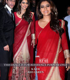 Buy Red embroidered georgette saree with blouse kajol-saree online
