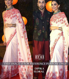 Buy White embroidered georgette saree with blouse deepika-padukone-saree online