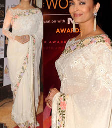 Buy White embroidered georgette saree with blouse aishwarya-rai-saree online