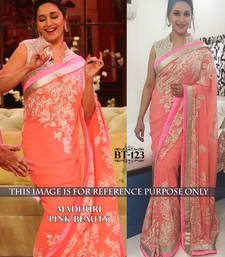Buy Pink embroidered georgette saree with blouse madhuri-dixit-saree online