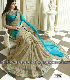 Buy Turquoise embroidered georgette saree with blouse party-wear-saree online