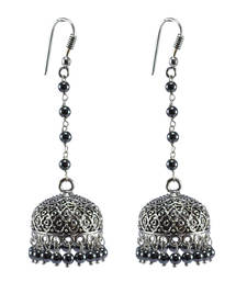 Buy Hematite -Large Jhumkas-Ethnic -Dome Sahpe Earring-Silver Tribal Jhumkis-Indian Jewelry jhumka online