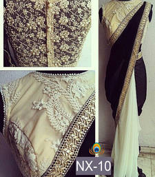Buy Black embroidered velvet saree with blouse party-wear-saree online