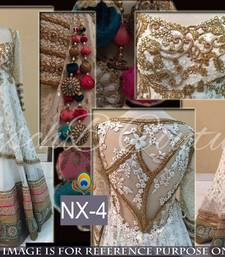 Buy White embroidered net unstitched lehenga bridal-lehenga online