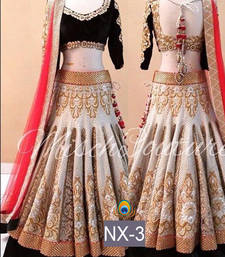Buy Multicolor embroidered silk unstitched lehenga black-friday-deal-sale online