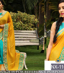 Buy Yellow embroidered paper cotton saree with blouse party-wear-saree online