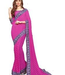 Buy Pink printed georgette saree with blouse traditional-saree online