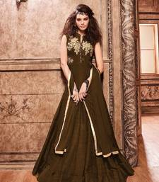 Buy Brown embroidered Banarasi Silk semi stitched salwar with dupatta diwali-salwar-kameez online