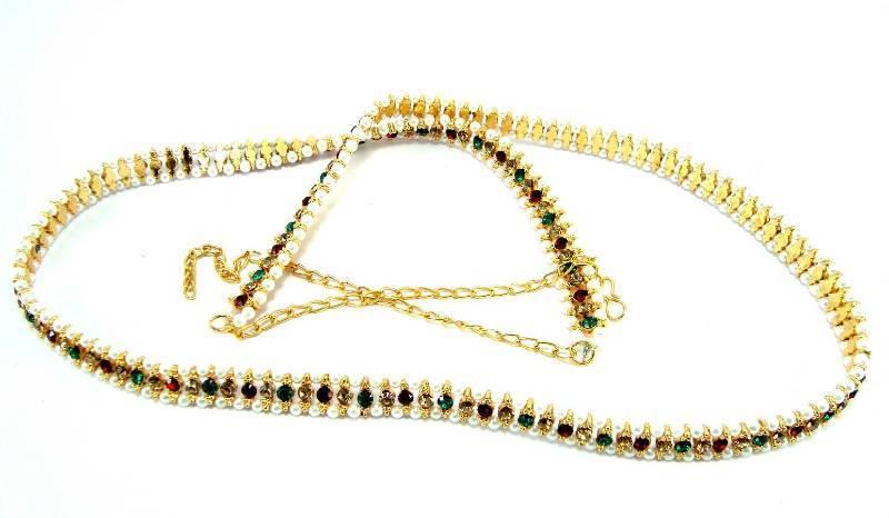Buy Indian bridal multicolour cz pearl gold tone waist belt bt02 Online