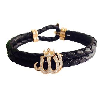 14k Gold Allah Leather Bracelet for men with Diamonds