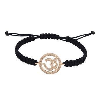 Om Bracelet in 14K Gold 18mm size studded with diamonds on adjustable nylon t...