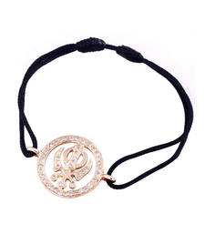 Buy Sikh Khanda Gold Bracelet 18mm diameter in 14k gold studded with natural diamonds 0.30 carats gemstone-bracelet online