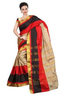Red printed banarasi saree with blouse
