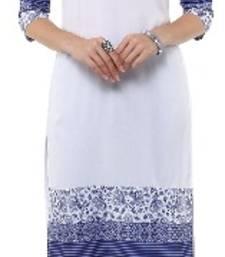 Buy White Crepe printed kurti pakistani-kurtis online