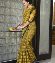 Buy Yellow printed cotton poly saree with blouse printed-saree online